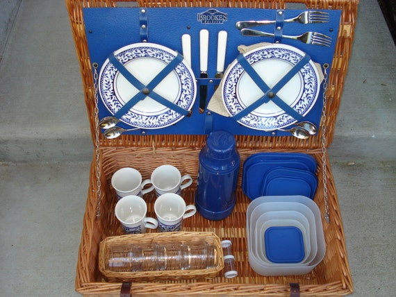 Vintage Brookes Wicker and Blue Leather Picnic Basket