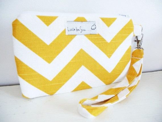 Chevron Wristlet Purse With Zipper and Detachable Strap, Premier Prints Zig Zag Yellow Slub, Great Gift under 20