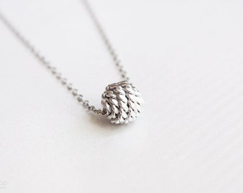 knot necklace - minimalist, delicate, modern silver necklace - gift for her under 20 usd