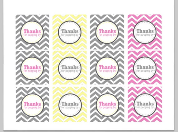 Items similar to Thanks For Popping By Chevron Favor Tags/Cupcake Toppers - Printable (Gray ...