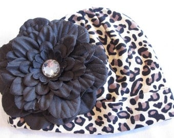 Trendy Cheetah Hat with Beautiful Black Peony