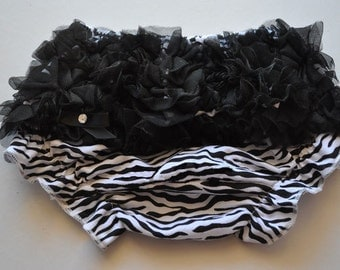 Zebra Bloomers with Black Ruffles