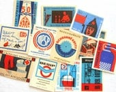 10 Red White and Blue Vintage Matchbox Labels - Old Czech Match Box Labels from Czechoslovakia - Small Paper Ephemera - Embellishments