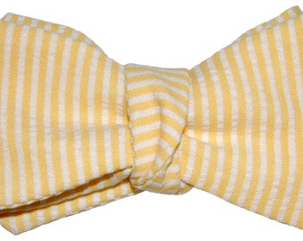 Bow Tie Logic Yellow and White Striped Seersucker Bow Tie