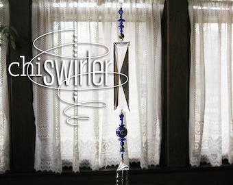 Cobalt blue beaded sun catcher, cobalt blue beads, repurposed vintage chandelier prism, Chi-Swirler