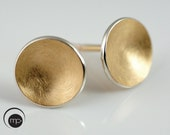 Round Silver and Gold Earrings, Simple Every Day Ear Studs, Gold Plated Jewelry, Silver Cup Earrings, Gift for Her, Easter