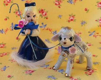 Vintage Ceramic Little Bo Peep with Ceramic Lamb, Refurbished Poodle Girl, Glittered with Fur Trim