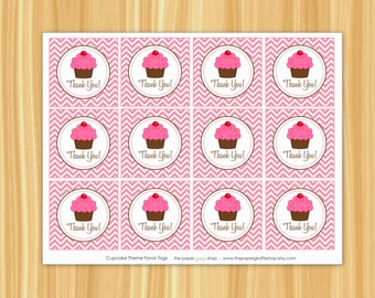 INSTANT DOWNLOAD - Printable Cupcake Theme Birthday Party Favor Tags