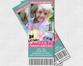 SPA PARTY TICKET Invitations - (print your own) Birthday Sleepover Personalized Printable