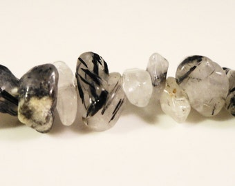 """Rutilated Quartz Chip Beads 2x4mm to 10x6mm Tourmalated Quartz Gemstone Semiprecious Stone Chips on a Full 17"""" Strand with Over 120 Beads"""