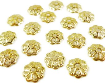 Gold Bead Caps 6mm Gold Tone Metal Thin Flower Beadcap End Cap Jewelry Making Findings 100pcs Fits Most 6-8mm Beads