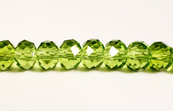 """Green Rondelle Crystal Beads 6x4mm (4x6mm) Olive Olivine Light Green Faceted Chinese Crystal Glass Beads on an 8 3/4"""" Strand with 50 Beads"""
