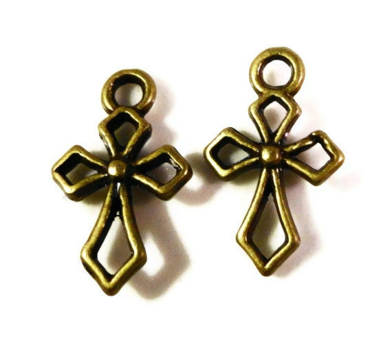 Bronze Cross Charms 17x10mm Antique Brass Cross Charms, Religious Charms, Small Double Sided Cross Pendants, Jewelry Making Supplies, 10pcs
