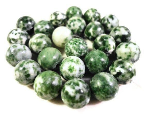 Green And White Marble : Tree agate gemstone beads mm round green and white