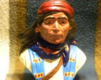 """Native American Chief Tribal Warrior Indigenous Southwest Country Western, Red Bandana, Gift, Holiday, Ceramic, Indiana, USA made, 4.5"""" Tall"""