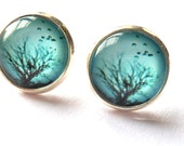 turquoise blue earrings, silver every day, bird, tree,  Teal studs post,  mint studs