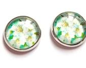 Mint  earrings free shipping flower stud silver photo