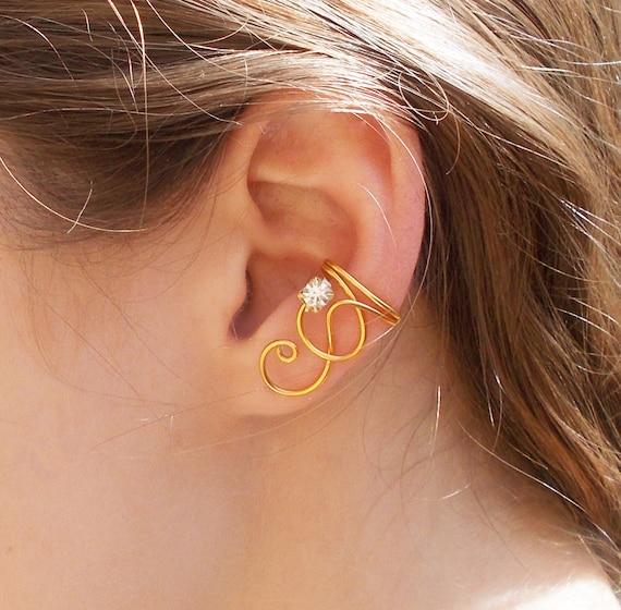 Simple Gold Swirl Ear Cuff with Clear Swarovski Rhinestone