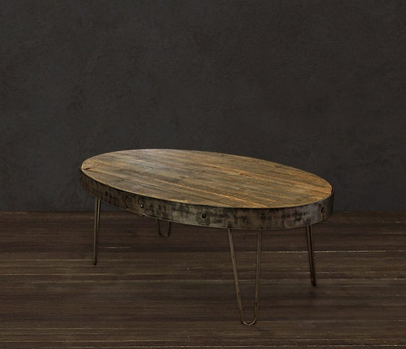 Reclaimed Coffee Table Oval Table Industrial By AtlasWoodCo