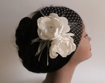 Birdcage Bandeau Veil, Ivory Flower Birdcage Veil and Fascinator, Wedding Head Piece, Ostrich Feathers and Pearls