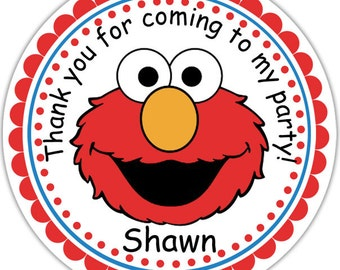 Elmo - Personalized Stickers, Party Favor Tags, Thank You Tags, Gift Tags, Address labels, Birthday, Baby Shower