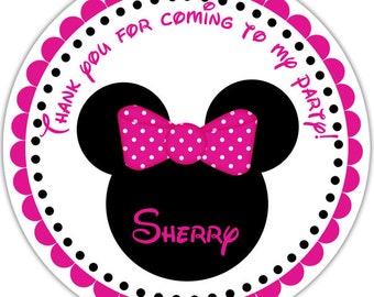 Minnie Mouse Head - Personalized Stickers, Party Favor Tags, Thank You Tags, Gift Tags, Address labels, Birthday, Baby Shower