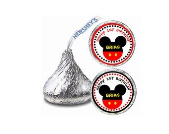 Mickey Mouse Head - Personalized Hershey Kiss Stickers, Hershey Kiss Labels, Party Favors, Favor Sticker