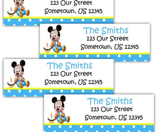 Baby Mickey Mouse - Personalized Address labels, Stickers
