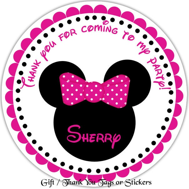 Minnie Mouse Head Personalized Stickers Party Favor Tags
