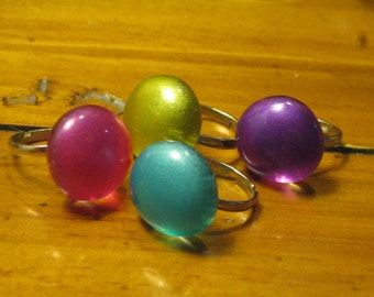Frosted Glass Adjustable Ring: Choose From Purple Fuschia Lime Green Turquoise