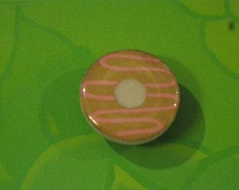 Pink Frosted Doughnut Mirror Tile Magnet
