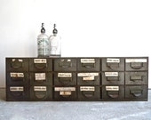 vintage industrial lyon steel 18 drawer cabinet // 1940s // 4 available