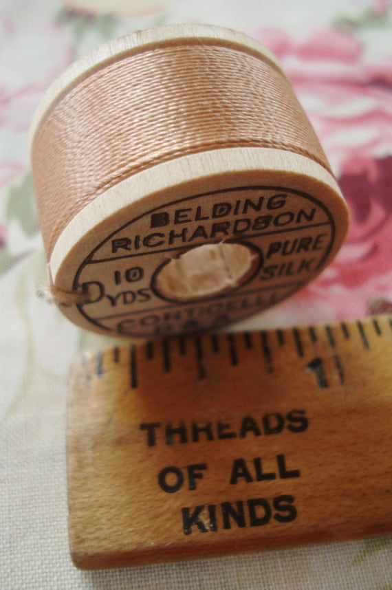 Antique Vintage Belding Richardson Corticelli Peach Pure Silk Button Hole Twist Sewing Embroidery Thread