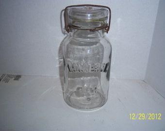 1890's Conserve Jar Quart  Fruit  Canning jar Wedding  Shower display centerpiece NO 2