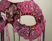 Raspberry Pixie Fairy Masquerade Mask//Halloween Mask//Mardi Gras Mask//Carnival Mask//Masquerade Ball Mask//Mask Masquerade