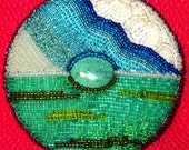 Turquoise Brooch, Island in Beaded Sea & Sky of Clouds