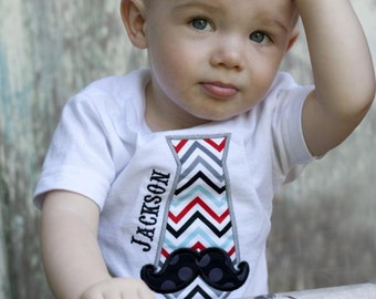 Toddler Boys Tie shirt with mustache and Free Personalization - Little man Shirt - Mustache Shirt - Boys shirt - Boys Mustache Birthday