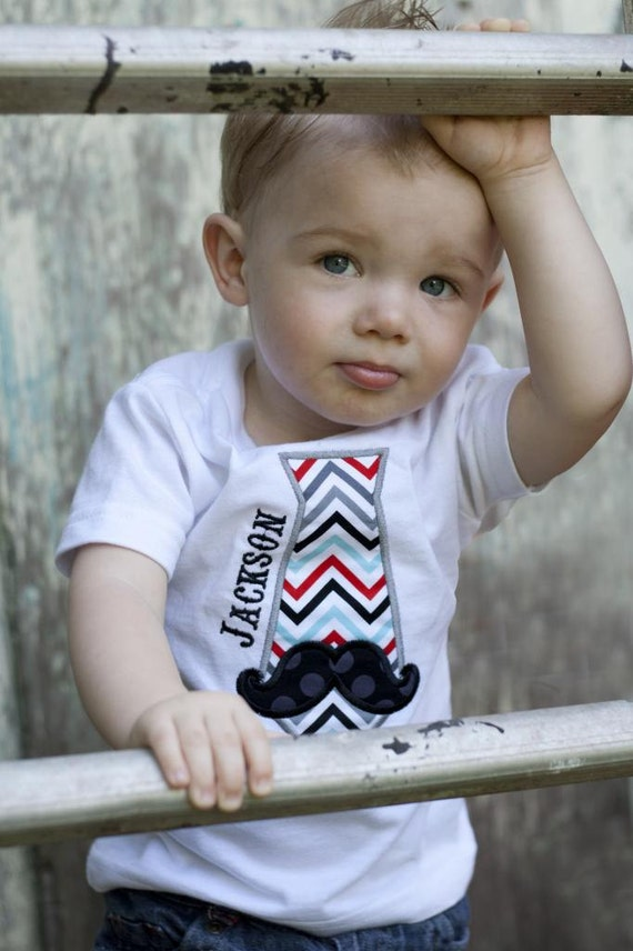 Toddler Boys Tie Shirt With Mustache And Free Personalization