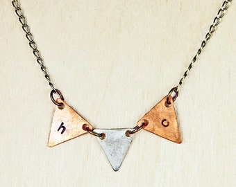 Custom Initial Personalized Triangle Banner/Pennant Necklace