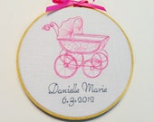 Personalized Baby Girl gift Pink embroidery hoop art