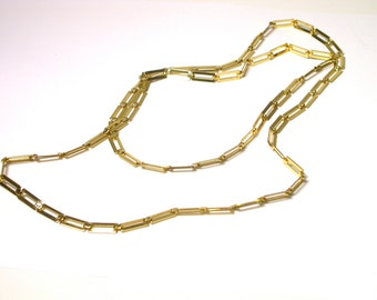 Gold Tone Chain Link Necklace - 34 Inches Long