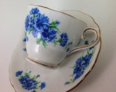 Vintage Bone China Teacup and Saucer, Colclough China, Made in England, Blue Cornflowers, 1950s