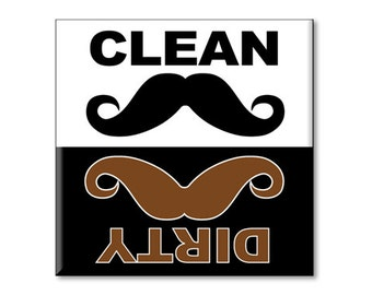 "Clean Dirty Dishwasher Magnet - Mustache 2.5"" x 2.5"" inches, brown and black"
