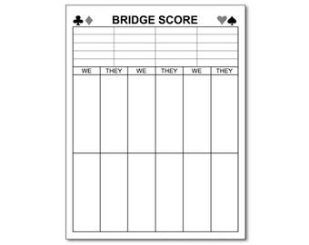 "Bridge Score Sheet Notepad 4.25"" x 5.5"" Black"
