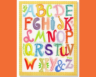 Alphabet Print, ABC Print, Baby Boy Nursery, Neutral Nursery, Orange Nursery, Kids Wall Decor, Nursery Decor, Shabby Chic, Whimsical, Yellow