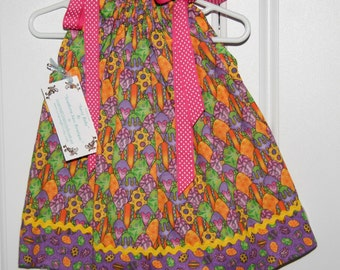 Bright Easter Egg Pillowcase dress 12 Months,  and size 5 only :E004