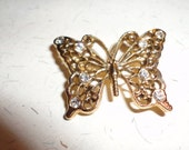 gold tone butterfly brooch/pin with rhinestones