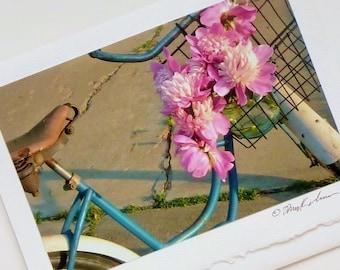 photo card peonies and vintage Schwinn bike