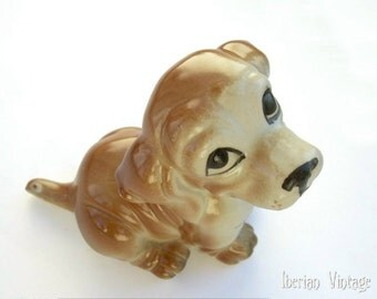 Cute Puppy Porcelain Figurine, Hand Painted Vintage