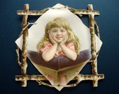 Girl Framed with Sticks, Victorian Scraps, 1890s